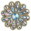 Motif Glitter Flower with stones 9.2cm Gold Crystal Aurora Borealis